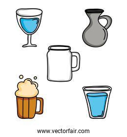set drinks beverages isolated icons