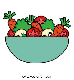 dish bowl with vegetables salad