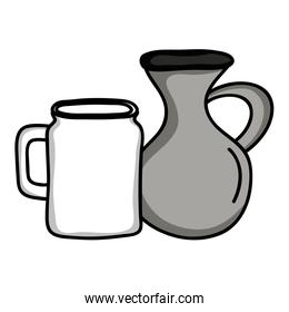 jars canteens pots isolated icons