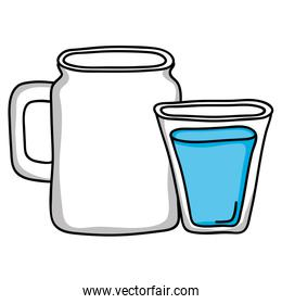 water glass and jar beverage isolated icon