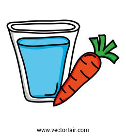 water glass with carrot vegetable