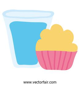 water glass beverage with cucpcake