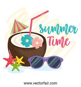 summer time poster with holiday icons