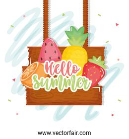 hello summer poster with wooden label and icons