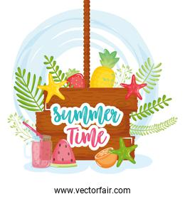 summer time poster with wooden label and icons
