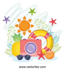 summer holiday poster with camera and icons