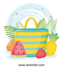 summer holiday poster with hand bag and icons