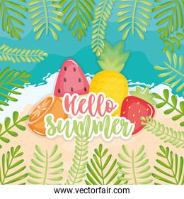 hello summer poster with holiday icons