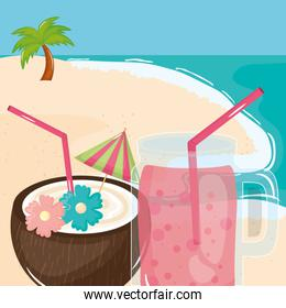 summer holiday poster with coconut cocktail