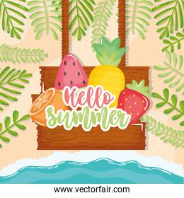 hello summer poster with wooden label