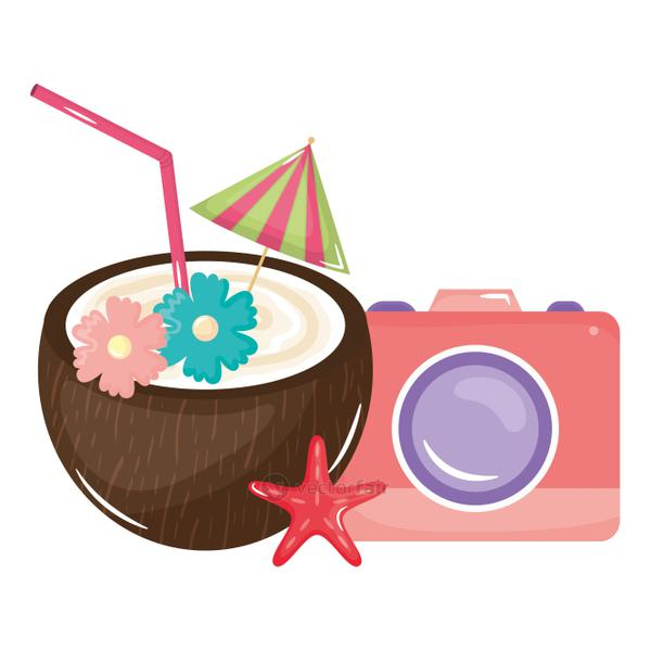 tropical coconut cocktail and camera photographic