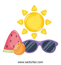 summer sun with sunglasses icons
