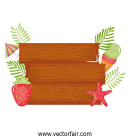 wooden label with ice cream and strawberry