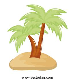 tree palm beach with sand summer icon