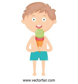 little boy with swimsuit and ice cream