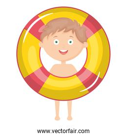 little boy with swimsuit and float