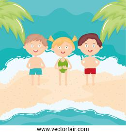 cute little kids with swimsuit on the beach characters