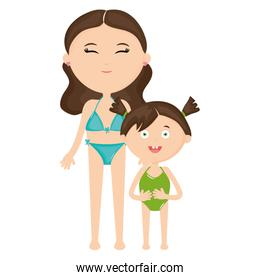 smiling woman and daughter with swimsuit
