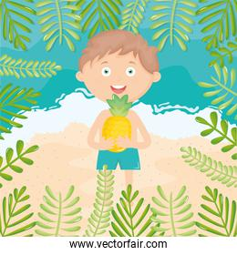 little boy with swimsuit on the beach character