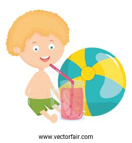 little boy with swimsuit and cocktail character