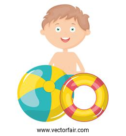 little boy with swimsuit and float lifeguard