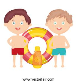 little boys with swimsuit and float characters