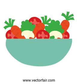 dish bowl with vegetables salad isolated icon