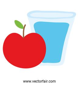 water glass with apple fruit icon
