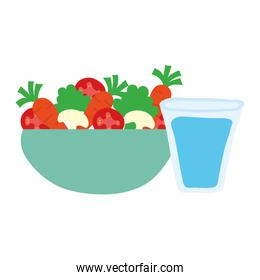 dish bowl with vegetables salad and water glass