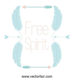 free spirit bohemian frame with feathers