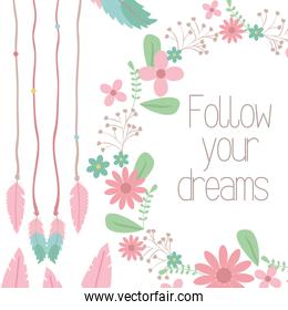 cute bohemian feathers and flowers hanging decoration