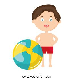 little boy with swimsuit and balloon beach