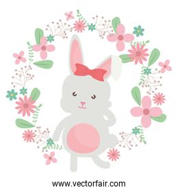 cute little rabbit with floral decoration frame