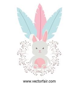 cute little rabbit with flowers and feathers frame
