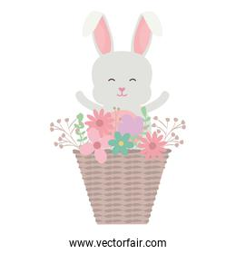 cute little rabbit with basket straw and flowers
