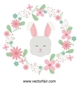 cute little rabbit head with floral decoration frame