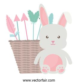 cute little rabbit with basket straw and arrows