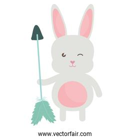 little rabbit with arrows and feathers