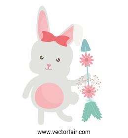 cute little rabbit with flowers and arrows