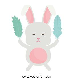 cute little rabbit lifting feather character