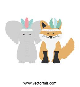 elephant and fox with feathers hats bohemian style