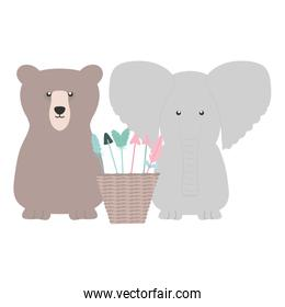 elephant and bear with basket of arrows bohemian style