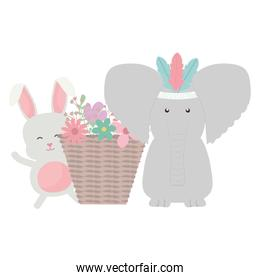 elephant and rabbit with feathers hat and basket of flowers