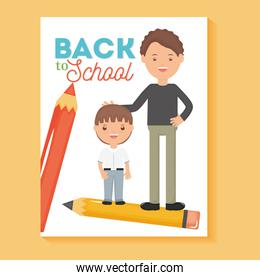 young male teacher with student boy and pencils