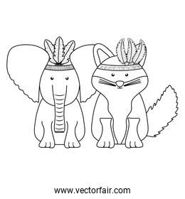 isolated elephant and fox with feathers hats bohemian style