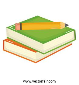 pile text books school with pencil