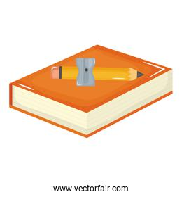text book school supply with pencil and sharpener