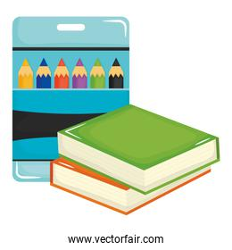 pile text books school and colors pencils box