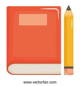 text book school supply with pencil