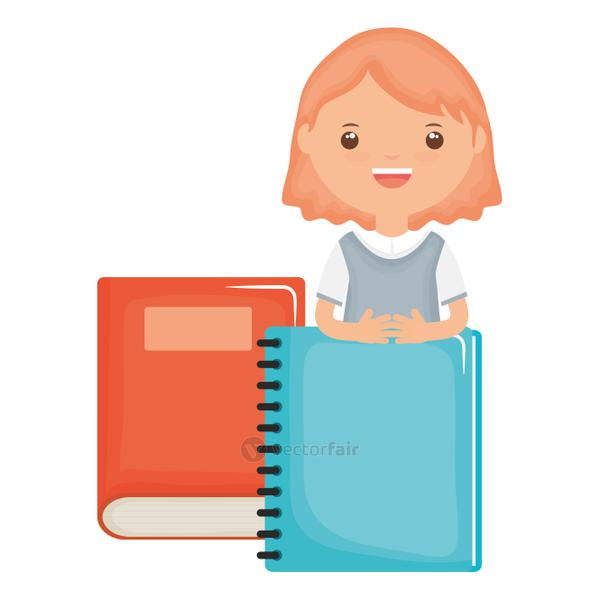 cute little student girl with textbook and notebook